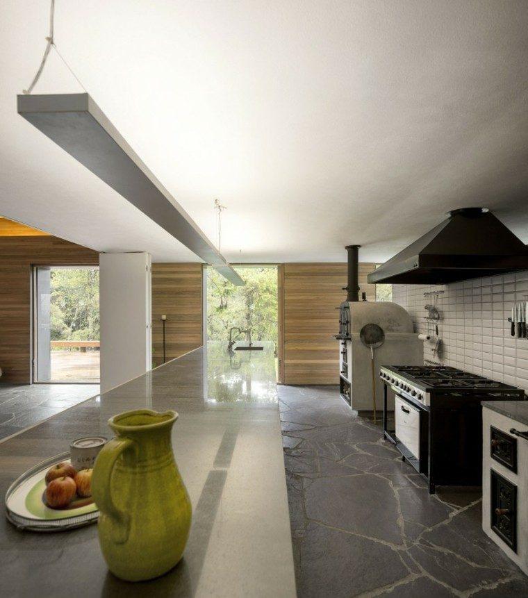 cocina paredes madera rustica diseño