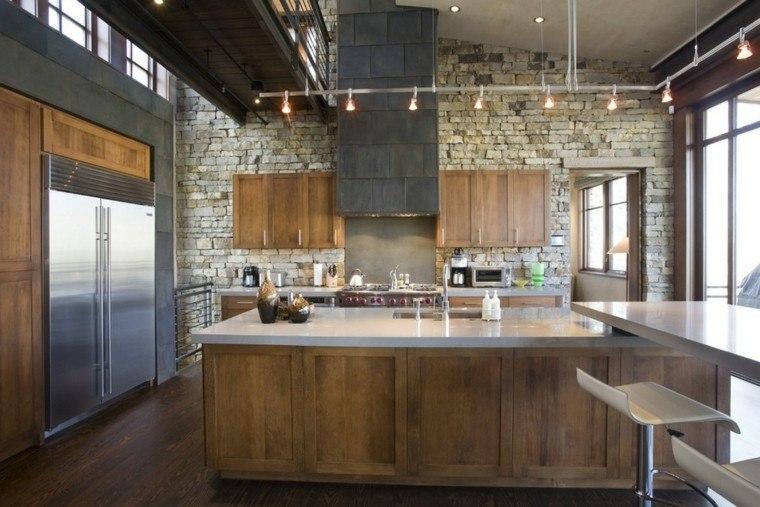 cocina moderna pared piedras ladrillos