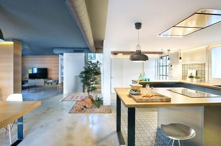 cocina moderna comedor sala jardin