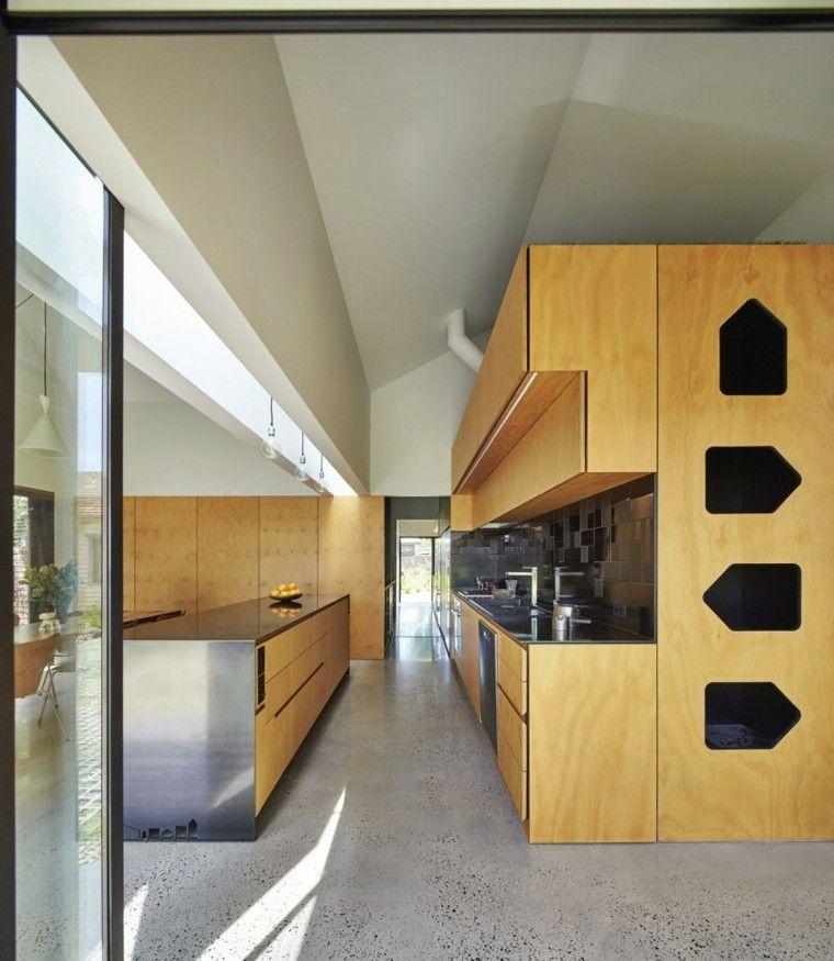 cocina moderna laminado madera isla