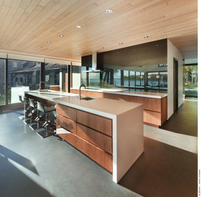 cocina moderna techo laminado madera
