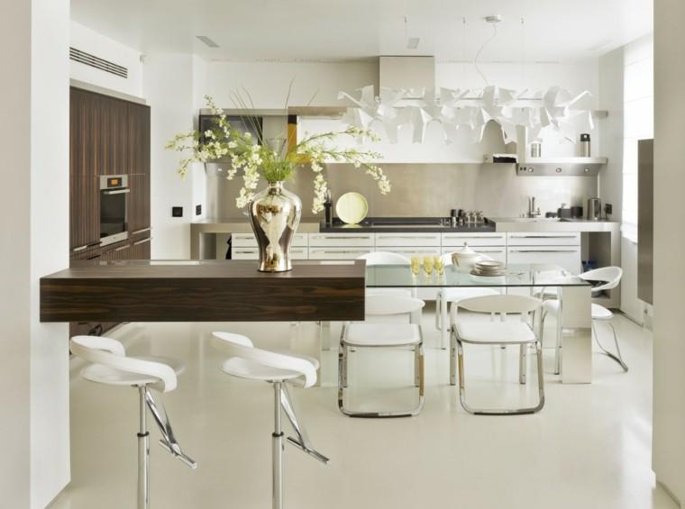 cocina moderna mesa cristal laminado