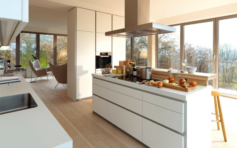 cocina moderna suelo parquet madera