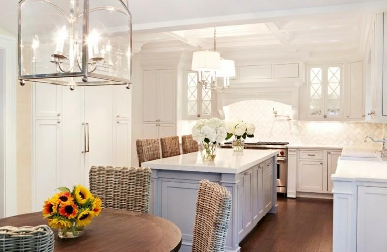 cocina muebles blancos isla azul claro madera moderna