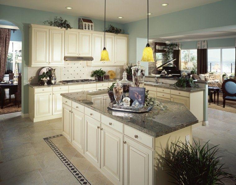 cocina muebles blancos isla encimera granito abierta salon moderna