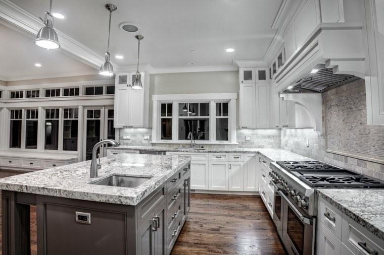 cocina muebles blancos isla gris marmol ideas
