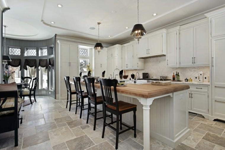 cocina muebles madera blanca isla encimera madera moderna