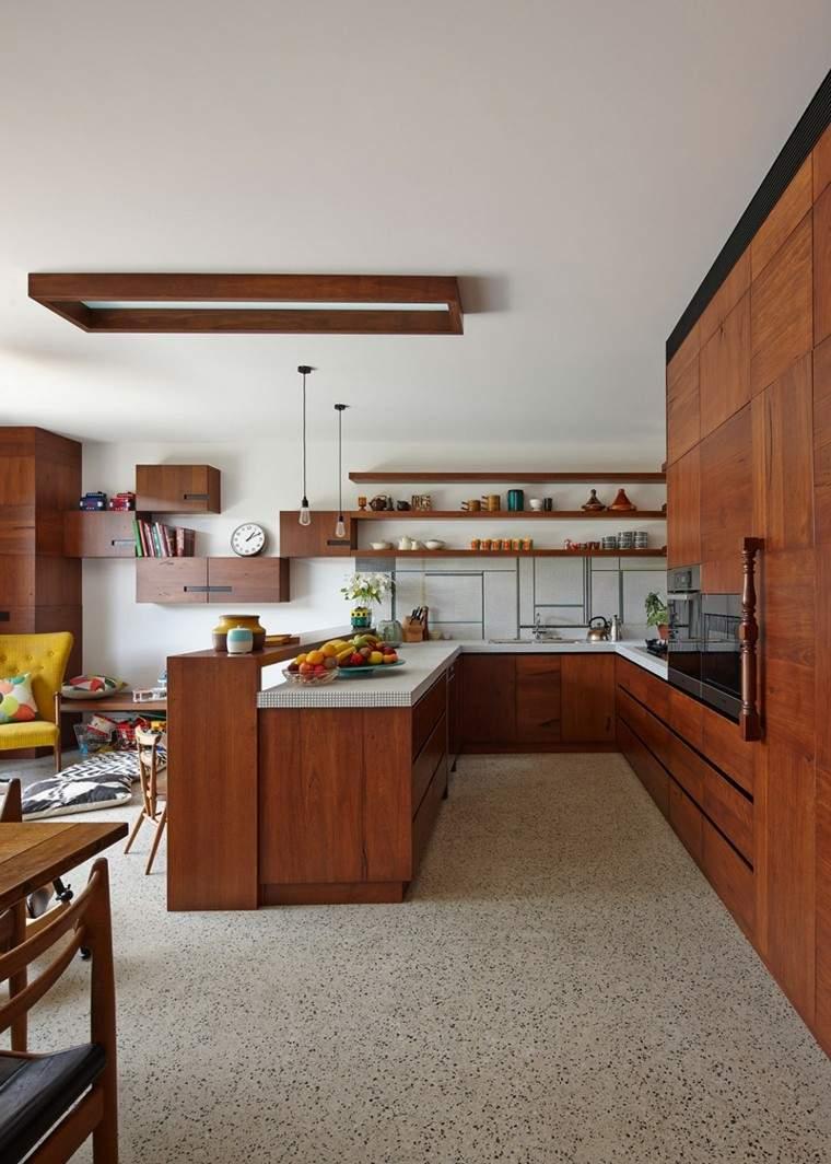 cocina muebles madera estanterias pared ideas