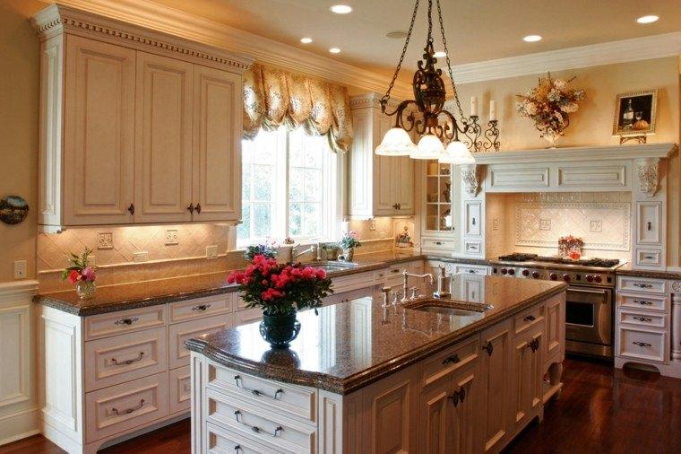 Cocinas blancas con muebles de madera muy modernas for Cocinas rusticas blancas