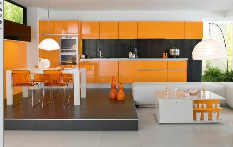 cocina naranja mesa blanca moderna