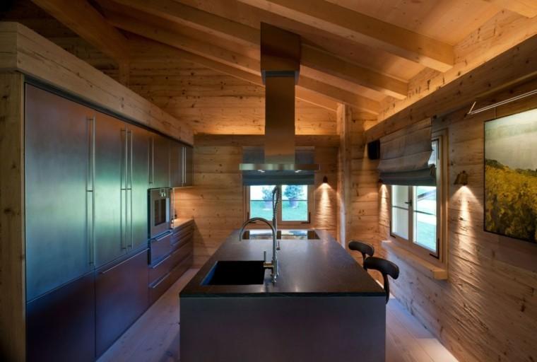 cocina pequeña moderna madera pino