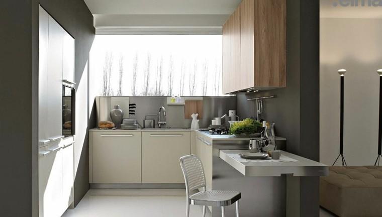 cocina pequeña blanca laminado madera