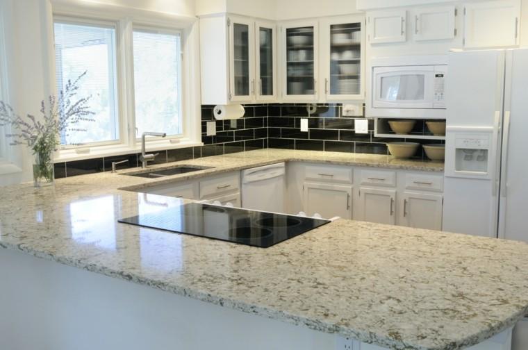 cocina pequena muebles blancos idea encimera marmol moderna