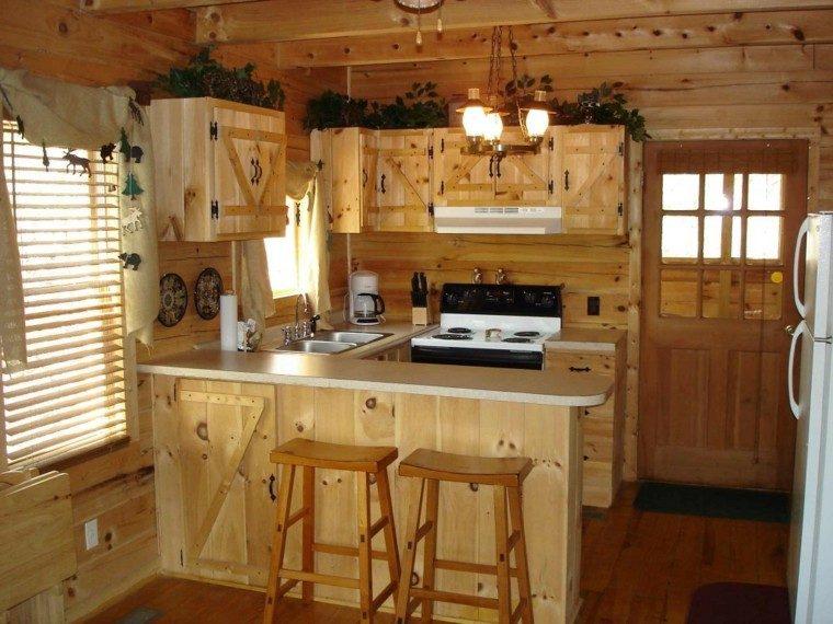 cocina rustica muebles banquetas estantes