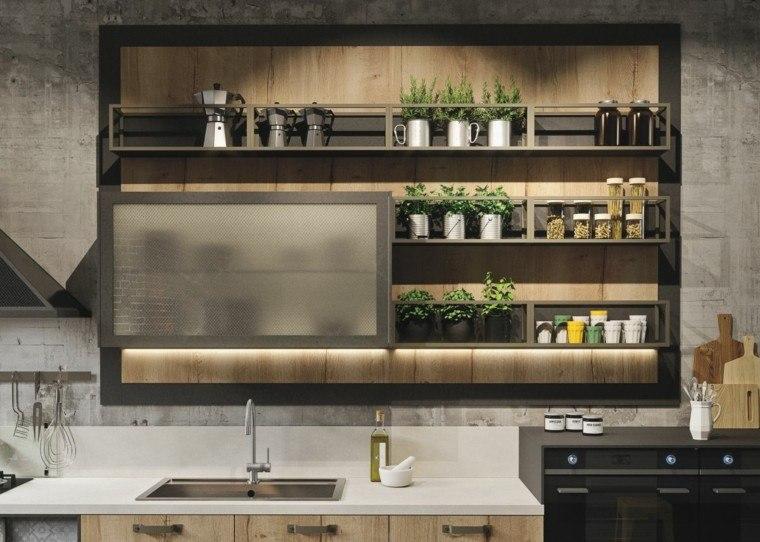 cocina rustica estantería plantas especias
