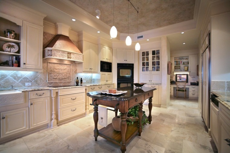 cocinas amplias blancas isla estilo rustico madera moderna