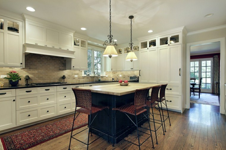 cocinas amplias suelo madera muebles blancos modernos ideas