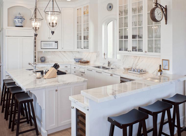 Cocinas blancas con muebles de madera muy modernas - Cocinas con puertas de cristal ...