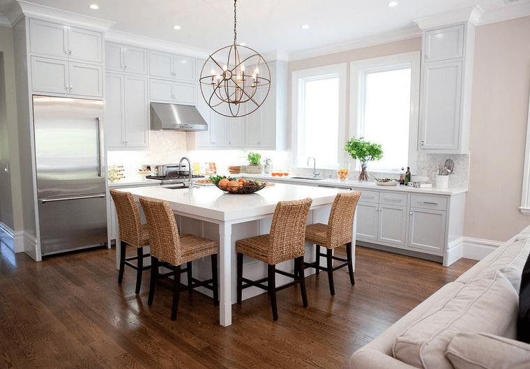 cocinas-blancas-equina-habitacion-isla-cuadrada-muebles-madera