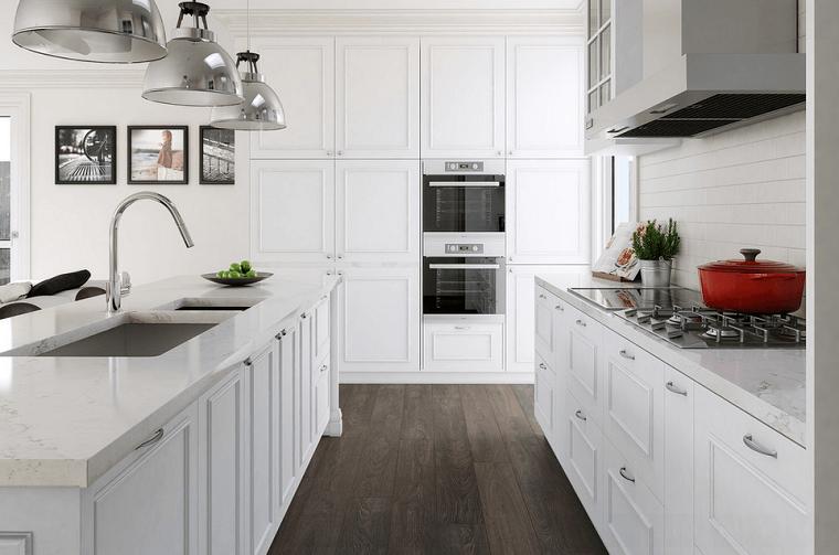 cocinas blancas isla muebles madera encimera marmol moderna