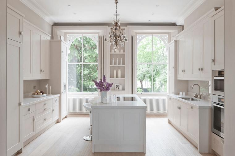 cocinas blancas madera isla dos paredes armarios moderna