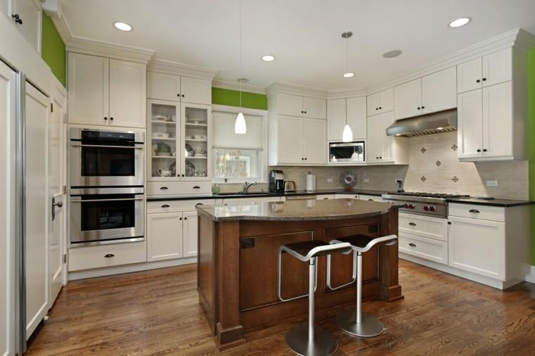 cocinas blancas muebles isla madera combinacion colores ideas modernas