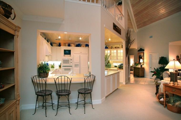 cocinas blancas salon abierto ideas originales interior moderno