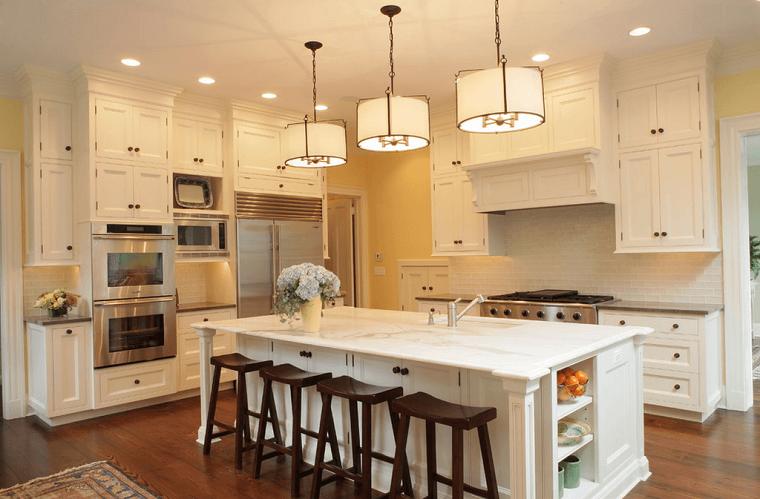 cocinas blancas taburetes marron isla muebles madera ideas