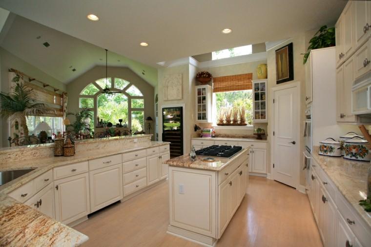 Cocinas blancas con muebles de madera muy modernas - Suelo madera cocina ...