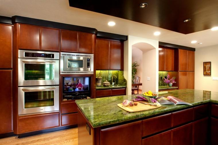 cocinas modernas colores vibrantes marmol verde moderna