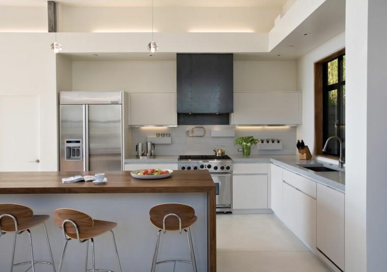 Blanco y madera cincuenta ideas para decorar tu cocina for Disenos de cocinas americanas pequenas