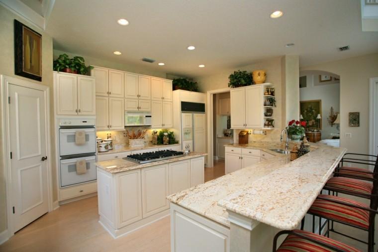 cocinas muebles blancos colores pared beige moderna