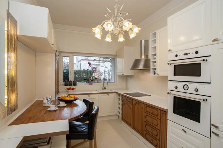 Cocinas blancas con muebles de madera muy modernas for Cocinas blancas pequenas