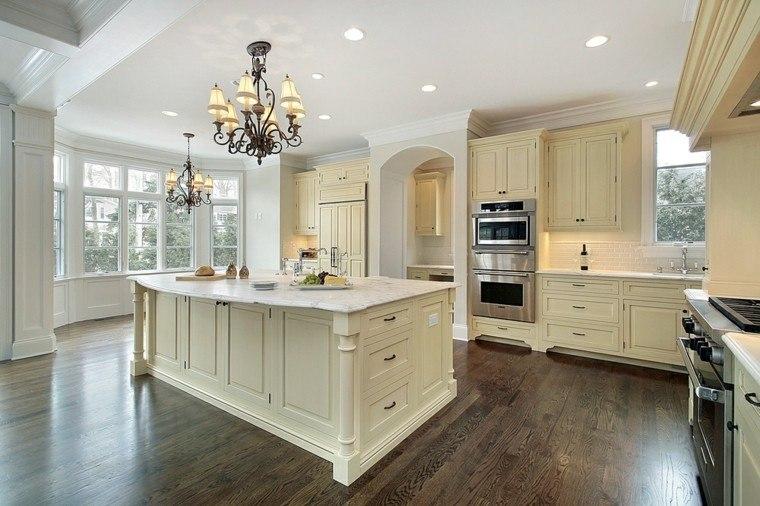 cocinas muebles paredes blancas madera amplia moderna