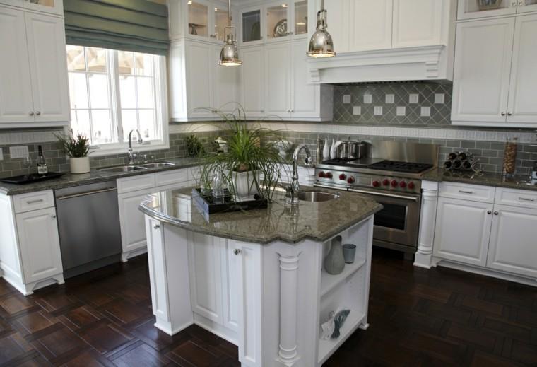 cocinas suelo madera negra muebles blancos modernos