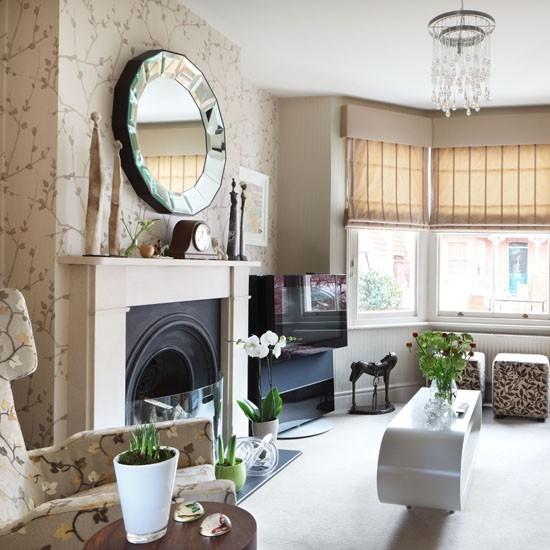 color beige chimenea espejo ideas modernas papel pared