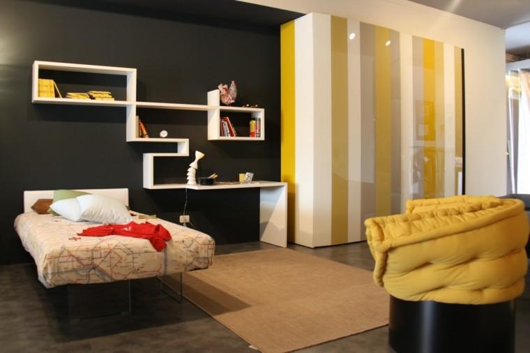 color negro blanco amarillo pared dormitotio ideas