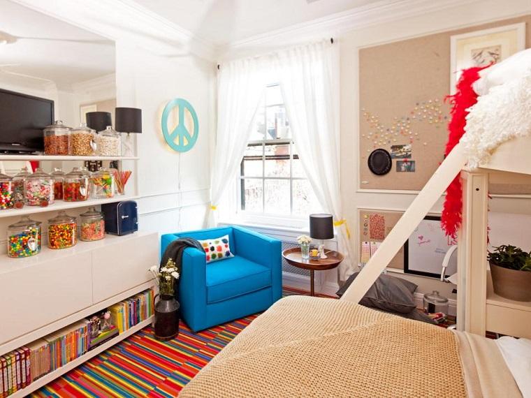 colores dormitorio butaca azul alfombra ideas