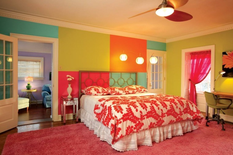 colores vibranbtes paredes dormitorio ideas originales modernas