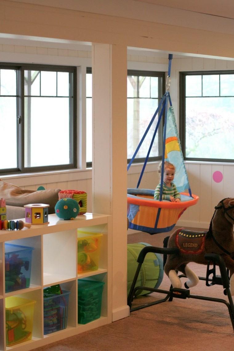 columpio habitacion nino colores vibrantes idea