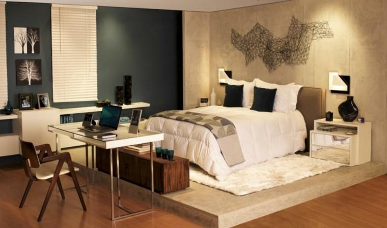combinacion azul oscuro beige dormitorio ideas