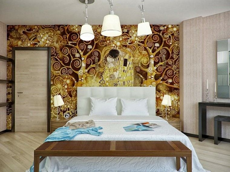 combinaciones de colores estampas ideas pared oro marron beige