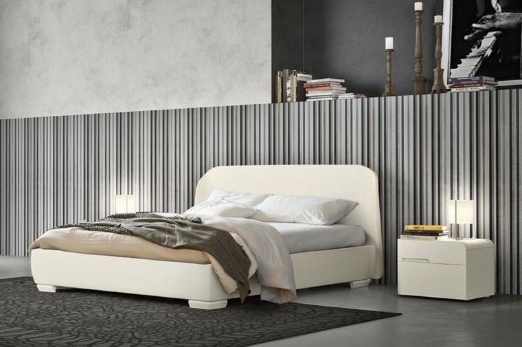 combinaciones de colores gris rayas gama dormitorio ideas