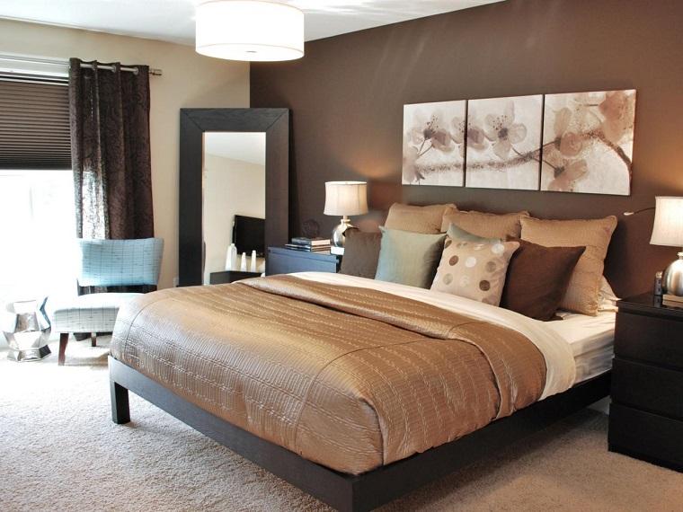combinaciones de colores marron oscuro beige dormitorio ideas
