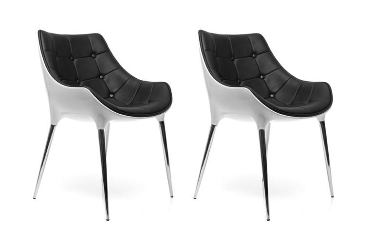 combinacion plastico cuero blanco negro sillas ideas