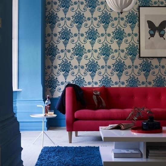 combinacion rojo azul salon moderno mesa cafe baja ideas