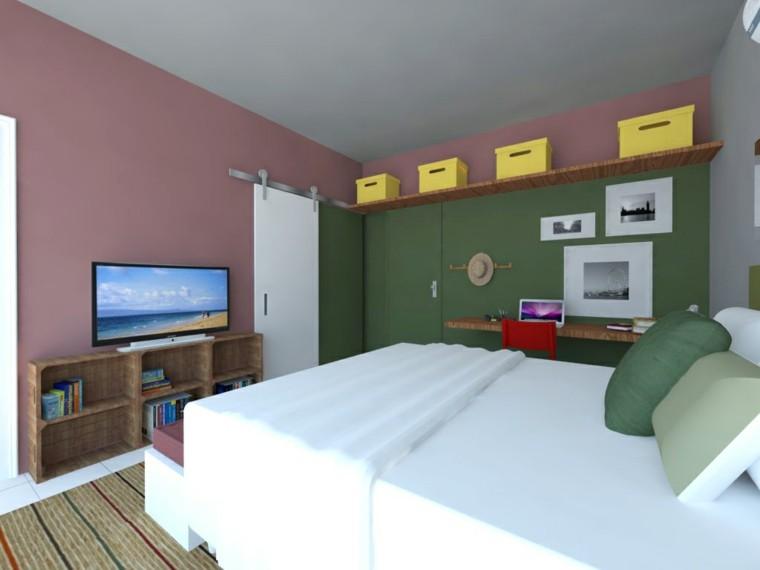 combinacion verde rosa oscuros dormitorio pequeno ideas modernas