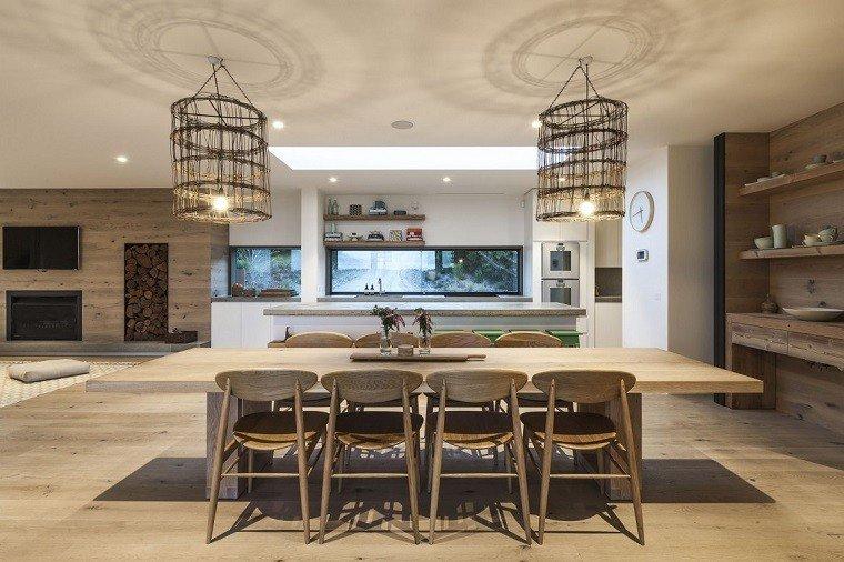 comedor amplio mesa grande larga madera sillas ideas