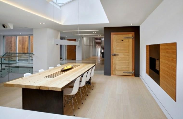 comedor amplio mesa larga madera estilo rustico ideas