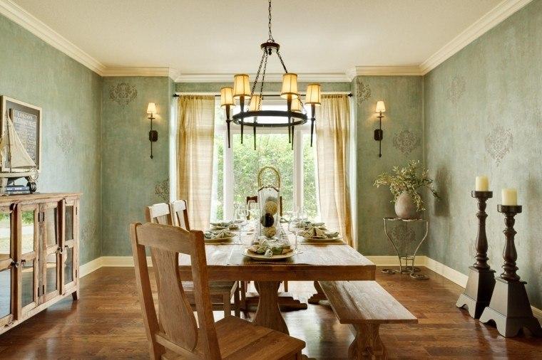 comedor bonito papel pared sillas baratas madera